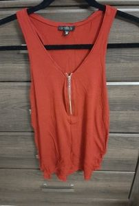 Rustic clay coloured zipper tank top